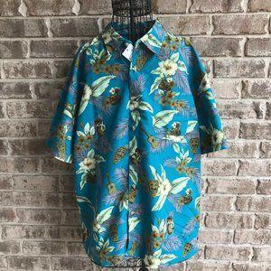 Hawaiian Shirt Men's XL Floral Guitar Drinks NWT
